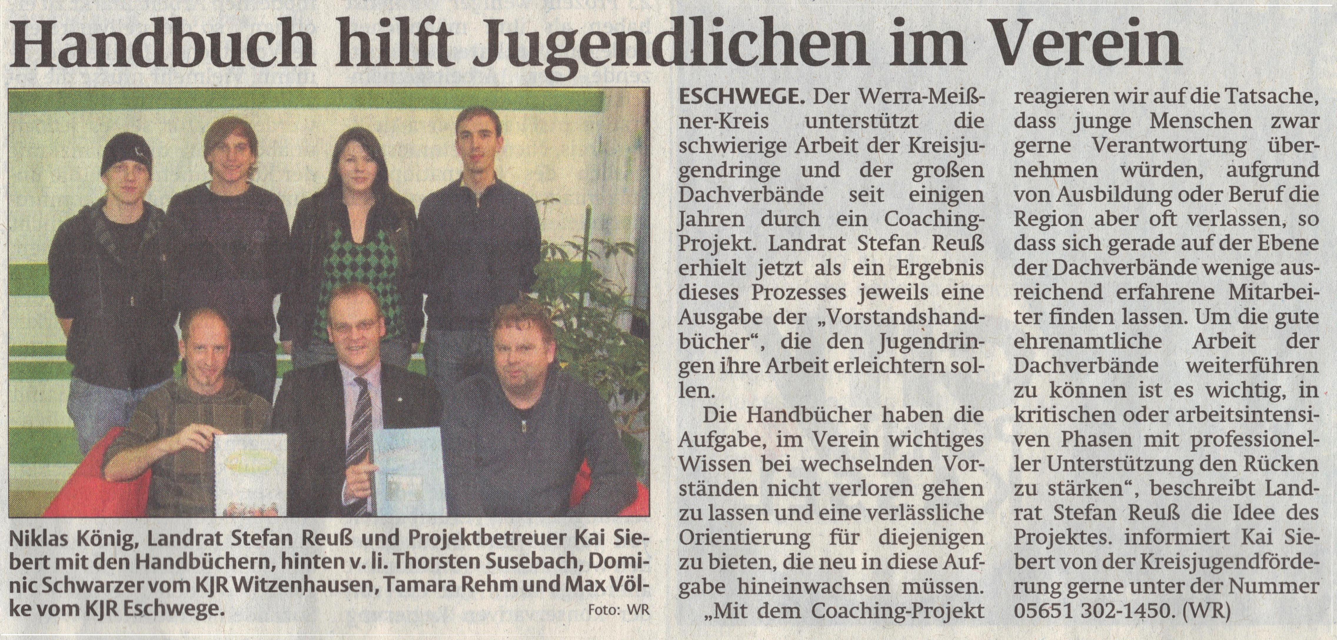Coaching - Handbuch hilft Jugendlichen im Verein - WR 11.03.2010